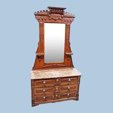 19 C Antique Walnut Victorian Dresser Vanity Mirror Chest Bedroom Set Bed Buffet