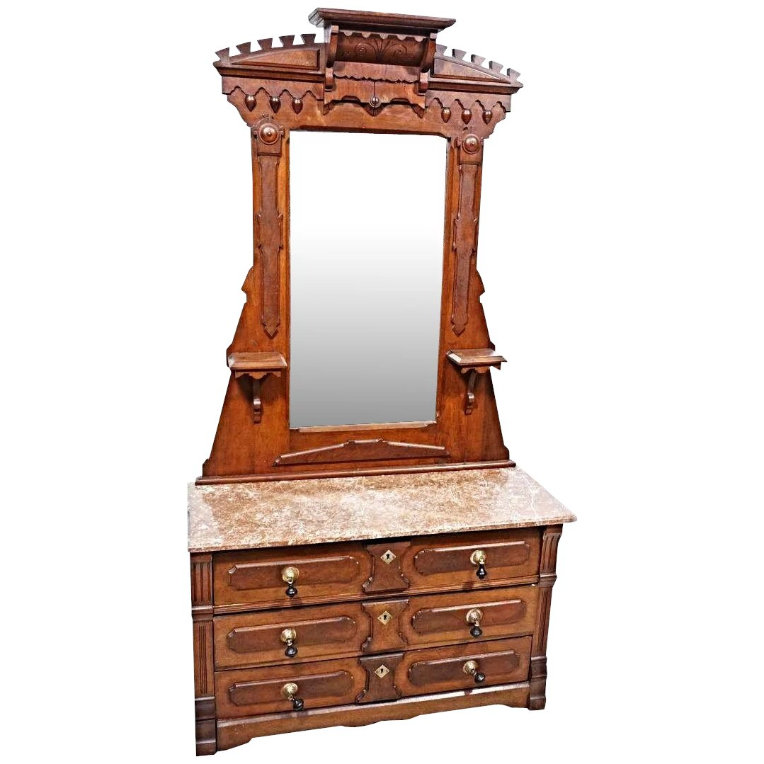 19 C Antique Walnut Victorian Dresser Vanity Mirror Chest Bedroom Set Treasure Island Interiors Llc Ruby Lane