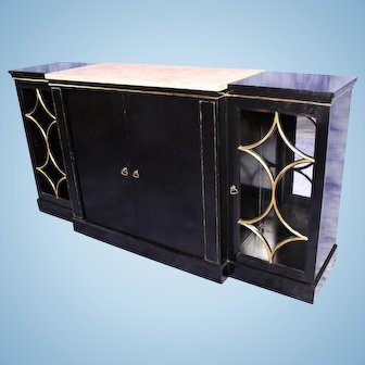 JANSEN Black Lacquer Marble Top Buffet Bar Cabinet Console Table Chest Sideboard