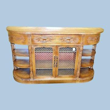 Carved Antique English Credenza Buffet Cabinet Sideboard Server Dresser Vintage