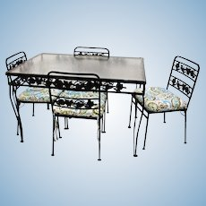 5 Pc Patio Set Black Steel Dining Table Glass Top Four 4 Chairs Garden Vintage