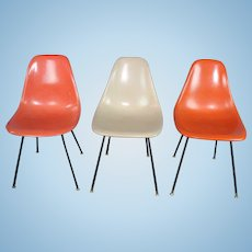 Signed Herman Miller 3 Fiberglass Bucket Chairs Office Side Mid Century Modern