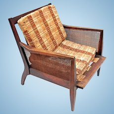 Mid Century Modern Wood Wicker Armchair Chair Library Office Side Sofa Vintage