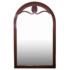 Line Inlaid Arched Neoclassical Mahogany Wall Mirror Antique Vintage Home Decor