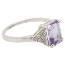 Solid 14K White Gold 1.00cttw Amethyst & Round Diamond Accents Cocktail Ring Sz7