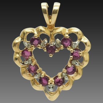 1980's Vintage 14K Yellow Gold 0.50ctw Round Ruby w/Diamond Accents Open Heart Filigree Pendant