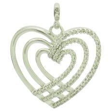 1990's Vintage 10K White Gold H-SI 0.25ctw Round Diamond Natural Triple Heart Dangle Pendant