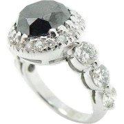 14K White Gold 4.00cttw Round Black Diamond Solitaire w/Accents Engagement Ring Center Stone: 2.75 Carat Round Black Diamond