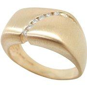 Solid Vintage 14K Yellow Gold Matte 0.25cttw F/VS Round Diamond Mens Ring Sz 9