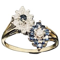Solid Vintage 14K Yellow Gold 0.75cttw Diamond & Blue Sapphire Cocktail Ring Sz 6.75