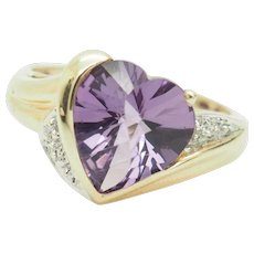 1980's Vintage 10K Yellow Gold 4.45ctw Heart Cut Amethyst w/Diamond Accents Cocktail Ring 8
