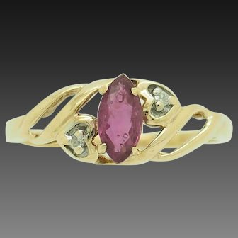1980's Vintage 10K Yellow Gold 0.30ctw Marquise Cut Red Ruby w/Diamond Accents Cocktail Ring 6.25
