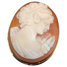 Vintage Solid 14K Yellow Gold Carved Cameo Pin/Brooch/Pendant-217 NA