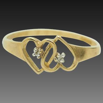 1980's Vintage 10K Yellow Gold 0.01ctw H-SI Round Diamond Double Heart Band Ring 6.75