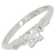 1980's Vintage 18K White Gold 0.05ct F-VS1 Round Cut Diamond Solitaire Engagement Ring 6