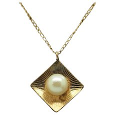 """1980's Vintage Solid 14K Yellow Gold 6mm Cultured Pearl Pendant w/Rope Necklace-15"""""""