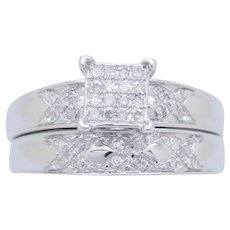 1990's Vintage 10K White Gold 0.20ctw G-VS Round Diamond Engagement/Wedding Band Ring Set 7.5