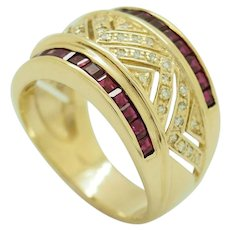 1980's Vintage 14K Yellow Gold 1.25ctw Natural Round Diamond & Red Ruby Filigree Cocktail Ring 8