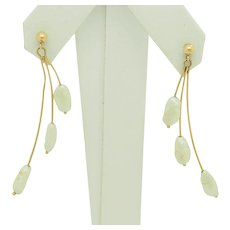 1980's Vintage 14K Yellow Gold 4mm Natural Freshwater Pearl Dangle Drop Earrings