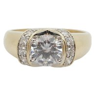 Solid 14K Yellow Gold 1.50cttw Round Cubic Zirconia w/Accents Engagement Ring
