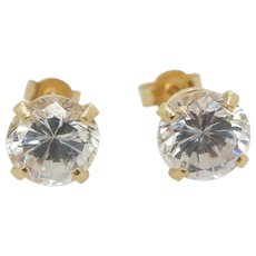 1980's Vintage Solid 14K Yellow Gold 1.68ctw Round Cubic Zirconia 4 Prong Stud Earrings