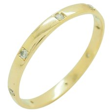 1980's Vintage Solid 18K Yellow Gold 0.25ctw H-SI Round Diamond Mens Wedding Ring 16