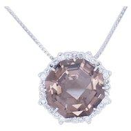 "1980's Vintage 14K White Gold Round Smokey Topaz w/0.50ctw F-VS Round Diamond Accents Pendant Necklace-16"""