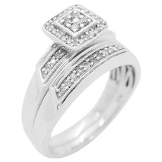 1990's Vintage Solid Sterling Silver/925 0.25ctw H-SI Round Diamond Engagement Wedding Ring Set 7