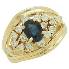 Solid Vintage 14K Yellow Gold 1ct Oval Sapphire w/0.65cttw G-VS Diamond Accents Cocktail Ring