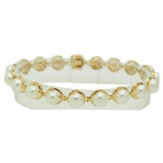 Solid 14K Yellow Gold 6.5mm Round Natural Pearl Bracelet-7""