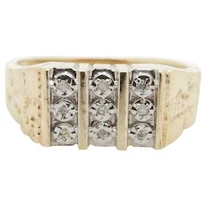 Solid Vintage 10K Yellow Gold 0.04cttw Round Diamond Pavee Nugget Ring Sz 9.5