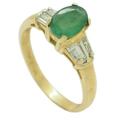 1980's Vintage 14K Yellow Gold 1.00ctw Oval Emerald Solitaire w/Diamond Accents Engagement Ring 6