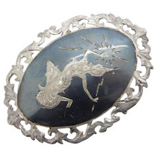 Solid Vintage Sterling Silver/925 Made in Siam Large Filigree Pin Brooch-15.1gr
