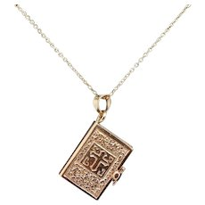 Solid 14K Solid Yellow Gold Holy Bible Lord's Prayer Charm Pendant Necklace-18""