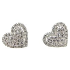 Solid 14K White Gold 1.00cttw Round Cubic Zirconia Heart Stud Earrings