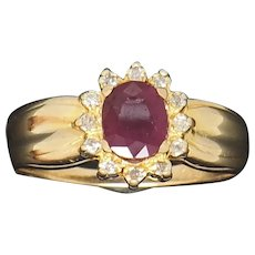 1980's Vintage 14K Yellow Gold 0.70ctw Oval Red Ruby w/Diamond Accents Cocktail Ring 6
