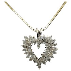 """Solid Vintage 14K Yellow Gold 1.00cttw H/SI Round Diamond Open Heart Pendant Necklace-16"""""""