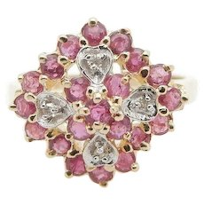 1980's Vintage 10K Yellow Gold 0.65ctw Round Red Ruby w/Diamond Accents Cocktail Ring 7