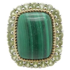 Solid Sterling Silver/925 Green Malachite w/Green Topaz Cocktail Ring Sz 7