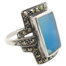 Solid Sterling Silver/925 Blue Topaz with Marcasite Accents Cocktail Band Ring Sz 6.5