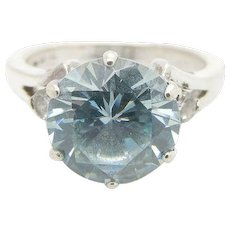 Solid Vintage Sterling Silver/925 2.75cttw Round Cut Blue Topaz with Cubic Zirconia Accents Engagement Ring 5.5