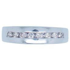 1990's Vintage 14K White Gold 0.35ctw G-VS Round Cut Natural Diamond Mens Band Ring 10