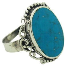 NF Solid Vintage Sterling Silver/925 Oval Turquoise Cocktail Ring 7