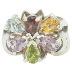 NF Solid Sterling Silver/925 2.40cttw Pear Cut Multi-Color Gemstone Flower Cocktail Ring 7.5