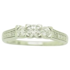 14K White Gold 0.40ctw F-SI 3-Stone Round Diamond w/Accents Engagement Ring 6.75