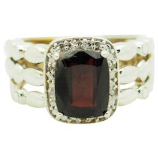 Solid Sterling Silver/925 4.00cttw Emerald Cut Red Garnet Solitaire with Round Natural Diamond Accents Cocktail Ring 7.75