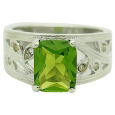 Sterling Silver/925 Emerald Cut Green Peridot Solitaire w/CZ Accents Filigree Cocktail Ring 8