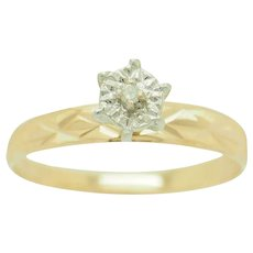 1990's Vintage 14K Yellow Gold 0.01ct H-SI Round Natural Diamond Solitaire Engagement Ring 8