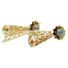 Solid Vintage 14K Yellow Gold 1.00cttw Round Blue Topaz Dangle Filigree Earrings