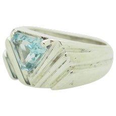Solid Vintage Sterling Silver/925 1ct Trillion Cut Blue Topaz Gemstone Cocktail Ring 5.75